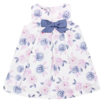 Imagem 2 do produto Vestido c/ Calcinha para bebe em tricoline Flourish - Mini Sailor - 14394440 VESTIDO RECORTE LACO TRICOLINE FLORAL ROSA-3-6