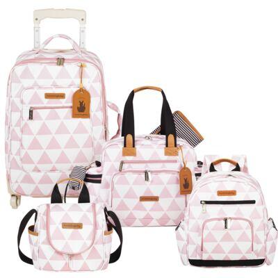 Imagem 1 do produto Mala Maternidade com Rodízio + Bolsa Everyday + Frasqueira térmica Emy + Mochila Noah Manhattan Rosa - Masterbag
