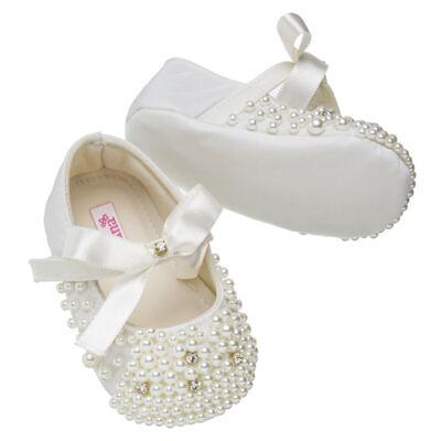 Imagem 3 do produto Sapatilha para bebe em cetim Pérolas & Laço Marfim - Roana - 20030004031 Sapatinha Detalhe Marfim -RN
