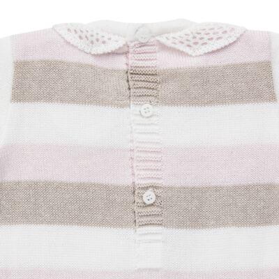 Imagem 3 do produto Macacão c/ golinha para bebe em tricot Ma Petite - Petit - 21874283 MACACAO C/GOLA BABADO TRICOT LISTRA ROSA -M