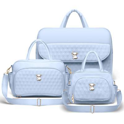 Imagem 1 do produto Kit Mala Maternidade para bebe + Bolsa Veneza + Frasqueira Térmica Milão Golden Koala Azul - Classic for Baby Bags