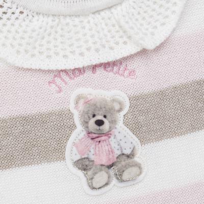 Imagem 2 do produto Macacão c/ golinha para bebe em tricot Ma Petite - Petit - 21874283 MACACAO C/GOLA BABADO TRICOT LISTRA ROSA -GG