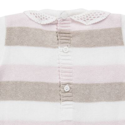Imagem 3 do produto Macacão c/ golinha para bebe em tricot Ma Petite - Petit - 21874283 MACACAO C/GOLA BABADO TRICOT LISTRA ROSA -G