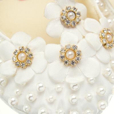 Imagem 2 do produto Sapatilha para bebe em cetim Bouquet Marfim - Roana - SPL00106031 Sapatilha Flores  Pérolas Marfim-RN