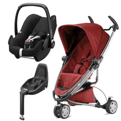 Travel System: Bebe Conforto Pebble Plus Maxi-Cosi + Base 2WayFix com sistema Isofix Black  Maxi-Cosi + Carrinho Zapp Xtra 2 Red Rumour Quinny