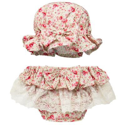 Imagem 1 do produto Conjunto de banho para bebê Liberty: Bumbum + Chapéu - Roana - BSR00900973 BANHO DE SOL C/ RENDA 3737 FLORAL/LARANJA-P