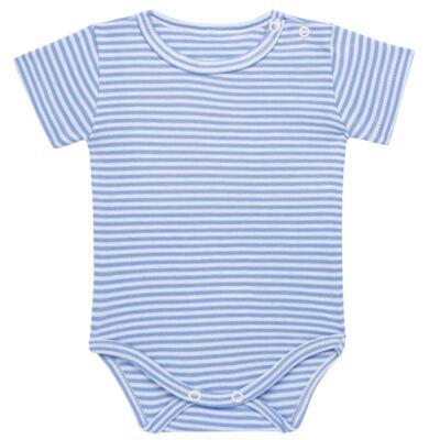 Imagem 1 do produto Body curto para bebe em algodão egípcio c/ jato de cerâmica e filtro solar fps 50 Mariner - Mini & Kids - BSM571.323 BODY M/C SUEDINE LISTRAS AZUL -P