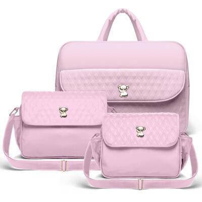 Imagem 1 do produto Kit Mala Maternidade para bebe + Bolsa Mônaco + Frasqueira Térmica Nice Golden Koala Rosa - Classic for Baby Bags