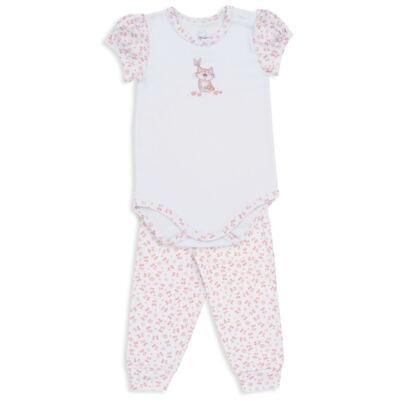 Imagem 1 do produto Body curto c/ Calça para bebe em suedine Florzinhas - Dedeka - DDK18052/E208 CONJUNTO DE BODY SUEDINE/FLORAL -GG