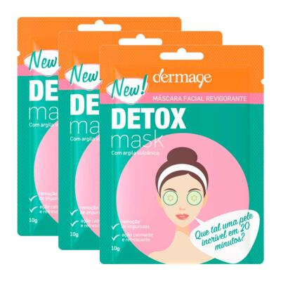 Imagem 1 do produto Kit Máscara Facial Revigorante Detox Dermage Sachê 10g 3 Unidades