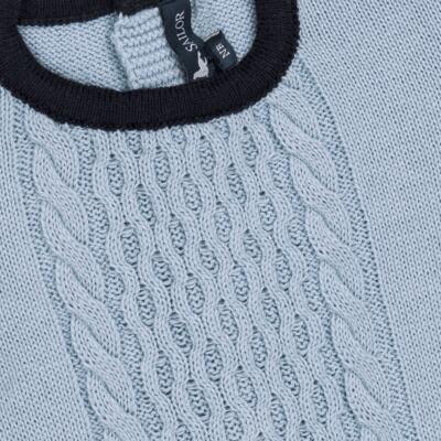 Imagem 2 do produto Macacão longo para bebe em tricot trançado Louis - Mini Sailor - 21774265 MACACAO COM TRANÇAS TRICOT AZUL BEBE-9-12