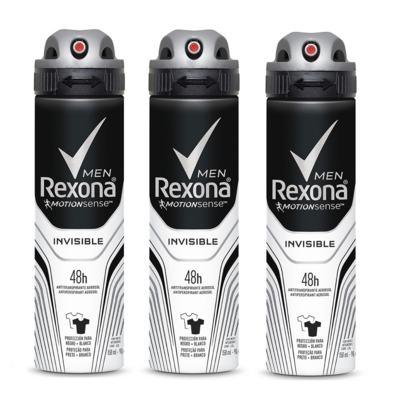 Imagem 1 do produto Kit Desodorante Rexona Aerosol Invisible 90g 3 Unidades
