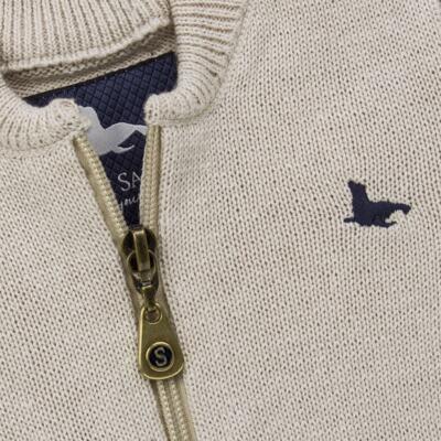 Imagem 2 do produto Casaquinho para bebe em tricot Caqui - Mini Sailor - 75494267 CASACO BASICO ZIPER TRICOT CAQUI-NB