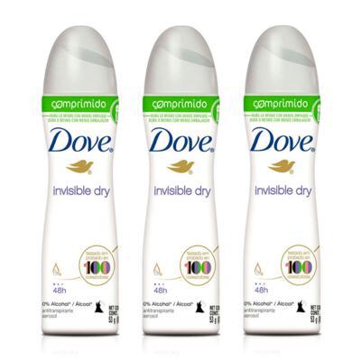 Imagem 1 do produto Kit Desodorante Aerosol Dove Comprimido Invisible Dry 53g 3 Unidades