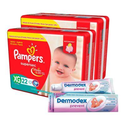 Imagem 1 do produto Kit Pampers Fralda Descartável Supersec XG 44 Unidades + Dermodex Prevent 30g