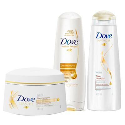Imagem 1 do produto Kit Dove Óleo Nutrição Shampoo + Condicionador 400ml + Creme de Tratamento 350g