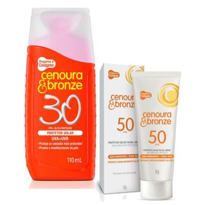 Imagem 1 do produto Kit Protetor Solar Cenoura & Bronze FPS 30 110ml + Facial FPS 50 50g