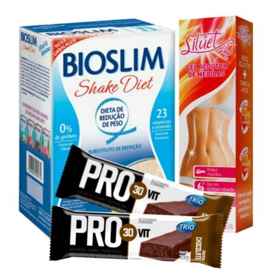 Imagem 1 do produto Kit Gel Redutor Siluet 40 200ml + Bioslim Shake Diet Maça e Banana 400g + Barra Trio Pro 30 Vit Chocolate 33g
