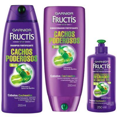 Imagem 1 do produto Kit Frutics Shampoo Anticaspa + Condicionador e Creme para pentear Cachos