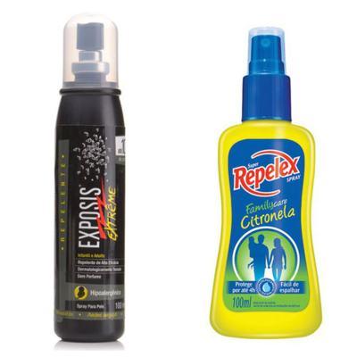 Imagem 1 do produto Repelente Exposis Extreme 100ml + Repelente Spray Repelex Citronela 100ml