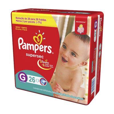 Imagem 2 do produto Kit Pampers Fralda Descartável Supersec G 52 Unidades + Dermodex Prevent 30g