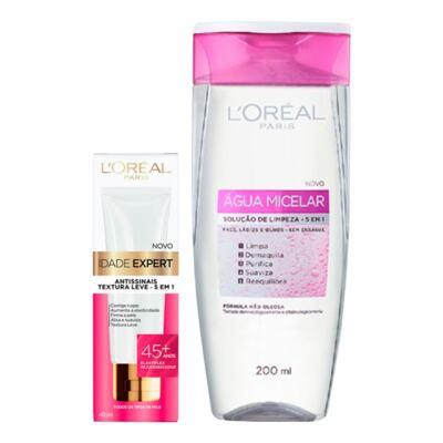 Imagem 1 do produto Kit L'Oréal Água Micelar 200ml + Creme Antissinais Idade Expert 45+ 40ml