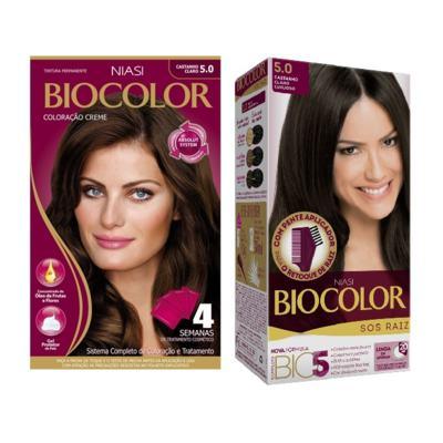 Imagem 1 do produto Tintura Biocolor 5.0 Castanho Claro + Tintura Biocolor S.O.S Raiz Castanho Claro 5.0