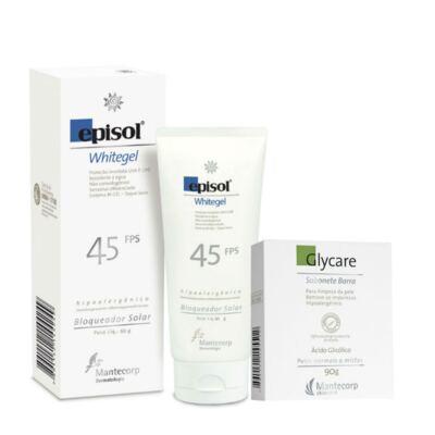 Imagem 1 do produto Kit Protetor Solar Episol Whitegel FPS 45 60g + Sabonete Facial Glycare Barra 90g