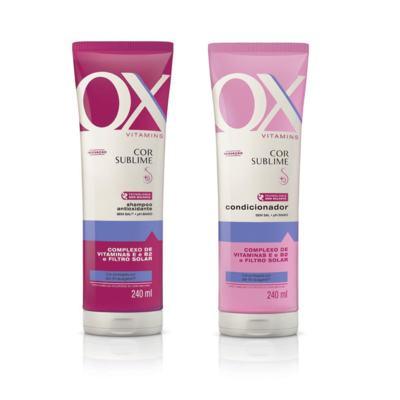 Imagem 1 do produto Shampoo OX Vitamins Cor Sublime 240ml + Condicionador OX Vitamins Cor Sublime 240ml