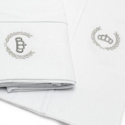 Imagem 2 do produto Kit 2 Fronhas para bebe em malha Coroinha Branca - Classic for Baby - KFR1051 FRONHA MALHA BRANCO UN
