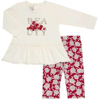 Imagem 1 do produto Bata com Legging para bebe em viscomfort Roses - Baby Classic - 18190003.21 BLUSA ABER.TRASEIRA C/LEGGING-VISCOMFORT-M