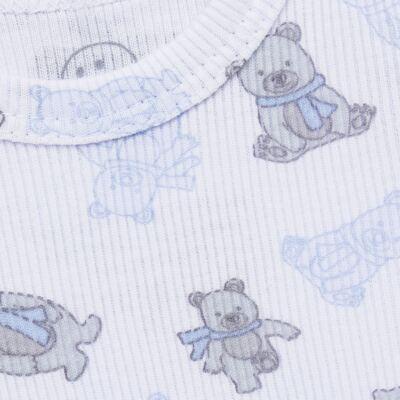 Imagem 3 do produto Body longo c/ Calça para bebe em algodão canelado Ursinho - Dedeka - DDK0890/E176 CONJUNTO DE BODY CANELADO ESTAMPADO URSINHO-GG