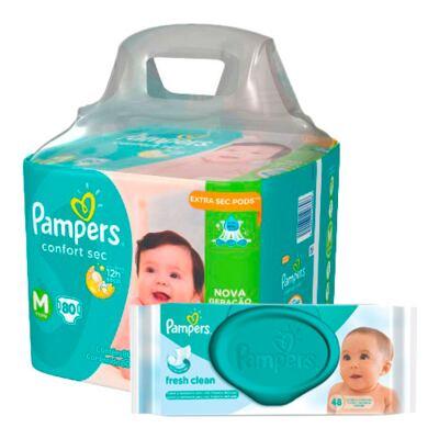 Imagem 1 do produto Kit Pampers Fralda Descartável Confort Sec M 80 Unidades + Lenços Umedecidos Fresh Clean 48 Unidades