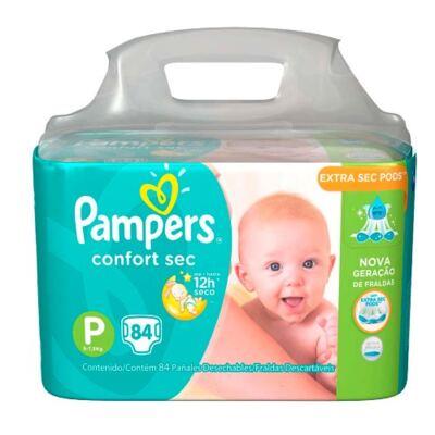 Imagem 2 do produto Kit Pampers Fralda Descartável Confort Sec P 84 Unidades + Lenços Umedecidos Fresh Clean 48 Unidades