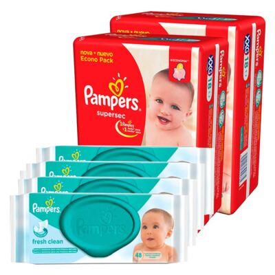Imagem 1 do produto Kit Pampers Fralda Descartável Supersec XXG 36 Unidades + Lenço Umedecido Fresh Clean 192 Unidades