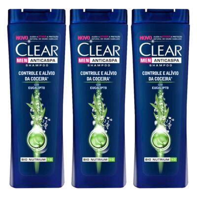 Imagem 1 do produto Kit 3 Shampoo Anticaspa Clear Men Controle e Alívio da Coceira 200ml