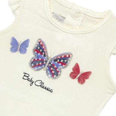 Imagem 3 do produto Blusinha com Calcinha Saia para bebe em viscolycra Butterflies - Baby Classic - 20521628 BLUSINHA M/C C/ SAIA VISCOLYCRA BUTTERFLY -M