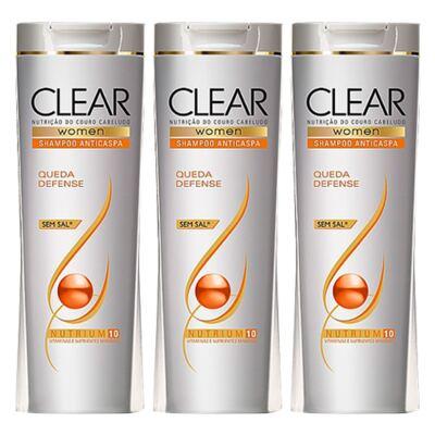 Imagem 1 do produto Kit 3 Shampoo Clear Queda Defense 200ml