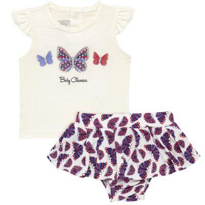 Imagem 1 do produto Blusinha com Calcinha Saia para bebe em viscolycra Butterflies - Baby Classic - 20521628 BLUSINHA M/C C/ SAIA VISCOLYCRA BUTTERFLY -P