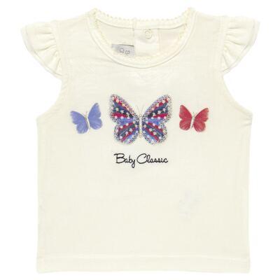 Imagem 2 do produto Blusinha com Calcinha Saia para bebe em viscolycra Butterflies - Baby Classic - 20521628 BLUSINHA M/C C/ SAIA VISCOLYCRA BUTTERFLY -P