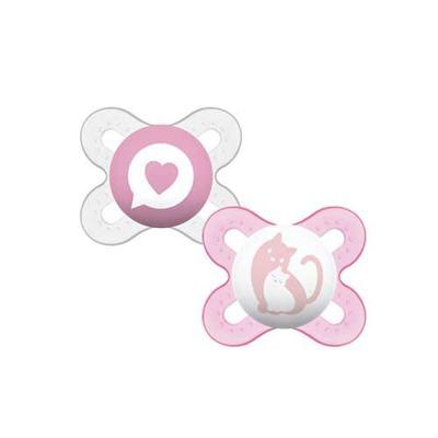 Imagem 1 do produto Chupeta MAM Start Girls Bico Simétrico Silicone Tamanho 1 de 0-2 Meses 2 Unidades