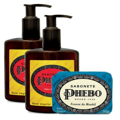 Imagem 1 do produto Sabonete Líquido Phebo Odor de Rosas 250ml 2 Unidades + Sabonete Phebo Frescor da Manhã 90g