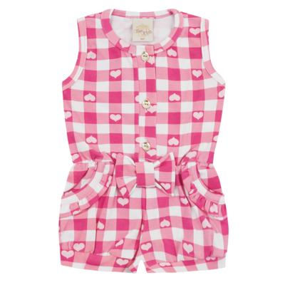 Imagem 1 do produto Macaquinho regata para bebe em cotton Peach - Time Kids - TK5057.RS MACAQUINHO XADREZ ROSA-P