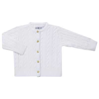 Imagem 1 do produto Casaquinho para bebe em tricot trançado Branco - Mini Sailor - 75404260 CASAQUINHO BASICO TRANÇADO TRICOT BRANCO -0-3