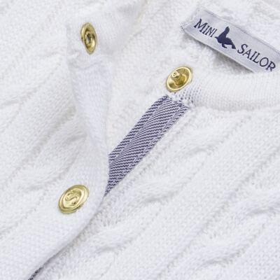 Imagem 2 do produto Casaquinho para bebe em tricot trançado Branco - Mini Sailor - 75404260 CASAQUINHO BASICO TRANÇADO TRICOT BRANCO -0-3