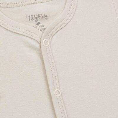 Imagem 2 do produto Macacão longo para bebe em suedine Bege - Tilly Baby - TB13113.02 MACACAO BASICO DE SUEDINE BEGE-RN