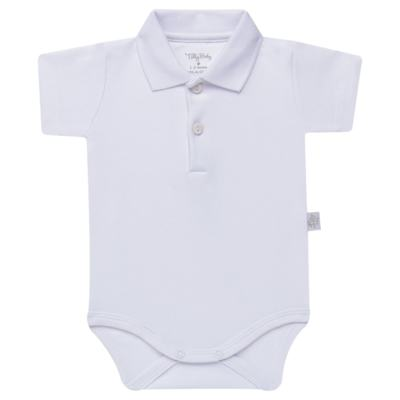 Imagem 1 do produto Body Polo curto para bebe em suedine Branco - Tilly Baby - TB13120.01 BODY POLO MC SUEDINE BRANCO -P
