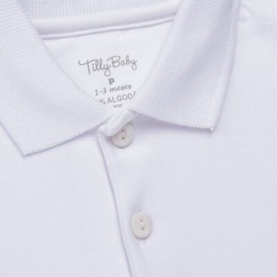 Imagem 2 do produto Body Polo curto para bebe em suedine Branco - Tilly Baby - TB13120.01 BODY POLO MC SUEDINE BRANCO -P