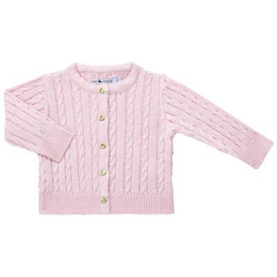 Imagem 1 do produto Casaquinho para bebe em tricot trançado Rosa - Mini Sailor - 75404264 CASAQUINHO BASICO TRANÇADO TRICOT ROSA BEBE-3-6