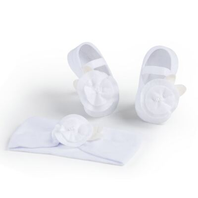 Imagem 1 do produto Kit Faixa de cabelo e meia sapatilha para bebe Flor Branca - Puket - PK6934L-B Kit Faixa de Cabelo + Meia Sapatilha Branco -9/12